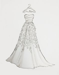 wedding dress designers drew barrymore and sketches on