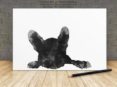 French Bulldog Drawing, Black Dog Silhouette, Frenchie Poster, Abstract Dog Art Print by Silhouetown on Etsy