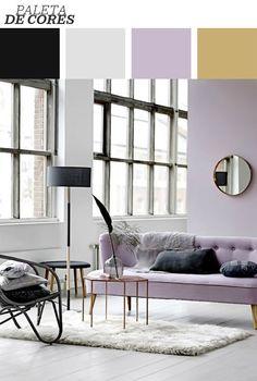 Esse living clean, repleto de texturas e com foco no lilás, exibe um estilo romântico. Um olhar mais apurado, no entanto, revela também sua inclinação ao industrial. Essa cor é uma maravilha, né? Clique na foto e veja mais sobre o ambiente!