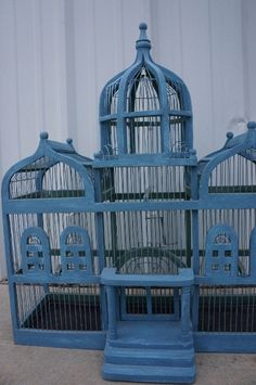 Victorian Wood & Wire Tiered Birdcage / Shabby Chic Antique Birdcage / Canary Cage / Victorian Towered Bird Cage