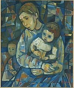 'mother and child' oil painting by irving amen