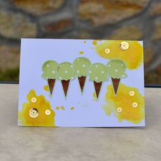 DIY ice cream card made with Simon Says Stamp die cut, Tim Holtz distress stains, and sequins.