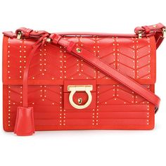 Salvatore Ferragamo studded Gancio lock shoulder bag (42.019.095 VND) ❤ liked on Polyvore featuring bags, handbags, shoulder bags, red, red leather shoulder bag, genuine leather handbags, shoulder handbags, red leather handbags and red handbags