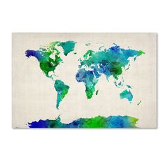 World Map Watercolor Canvas Art