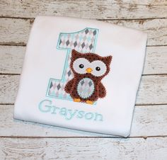 Owl Birthday Shirt- Available in Numbers 1-9, Choose your color scheme by thesimplyadorable on Etsy
