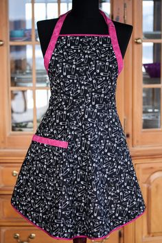 Everyday Flair Stuck on You Apron  Black and White by cococtions, $28.00