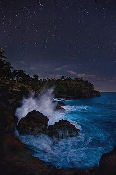 A sky filled with stars and the half light of the moon make for an enchanted night on the lost coast of Tutuila. American Samoa is probably the most underrated travel destination in the South Pacific. Beautiful World, Beautiful Places, Beautiful Ocean, Image Nature, Relax, Belleza Natural, South Pacific, Pacific Coast, Places To See