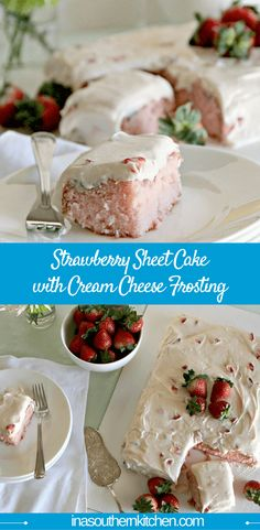 A luscious strawberry sheet cake with fresh strawberries and cream cheese frosting that's always a crowd-pleaser. via @insouthernktchn
