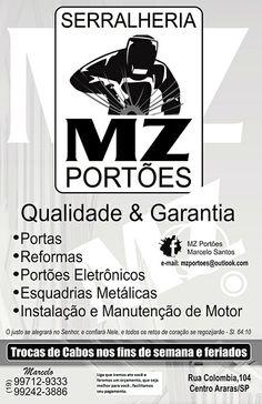 MZ Portões  Qualidade & Garantia Portas, Reformas, Portões Eletrônicos, Esquadrias Metálicas.  Estruturas metálicas e muito mais.