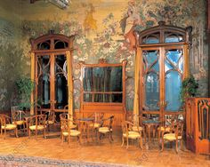 AKG-imágenes -Interiors of the hall of a grand hotel, Art Nouveau hall by Ernesto Basile, Villa Igea, Palermo, Sicily Region, Italy