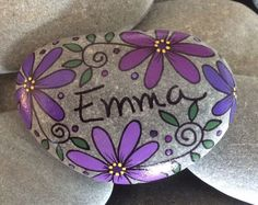 Happy Rock - Emma - Hand-Painted River Rock Stone - purple daisies pansies flowers
