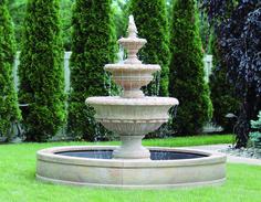 "72"" Chanticleer Fountain with Surround and 6' Fiberglass Pool | Massarelli's"