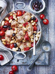 Lapin aux haricots blancs, tomates cerises et piquillos Paella, Casserole, Detox, Cooking, Ethnic Recipes, Solution, Food, Gym, Motivation