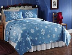 #wow Rest peacefully under a beautiful blanket of snow. Ideal for adding seasonal style to your bedroom all winter long, the #fleece #coverlet features a striking...