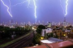 What he managed to film was a rare occurrence: Chicago's three tallest buildings the Willis Tower, Trump Tower, and the John Hancock Building all being struck by lightning at the same time. Description from snowaddiction.org. I searched for this on bing.com/images