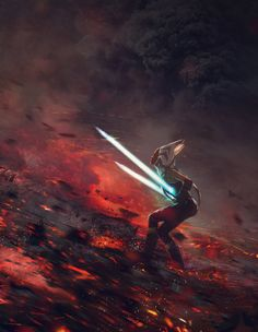 "At the End of All Things - Star Wars fan art by Guillem H. Pongiluppi ""This is a dramatic Star Wars Fanart about the last battle between Vader and Ahsoka Tano"""