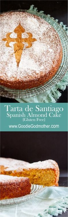 The Tarta de Santiago (Saint James Cake) is a classic Spanish dessert. This gluten free almond cake recipe makes a delightful dessert or tea cake. Gluten Free Almond Cake, Almond Cakes, Gluten Free Cakes, Gluten Free Baking, Gluten Free Desserts, Just Desserts, Dessert Recipes, Spanish Dishes, Spanish Food