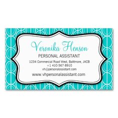Graphic ovals aqua, black & white business card. Designed by www.sarahtrett.com