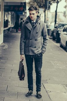 Leon  David - Topman Peacoat, Frank Wright Shoes - IT'S TOO COLD FOR YOU HERE