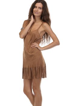 You'll be running around the reservation with this comfortable and sexy fringe dress. This faux suede mini dress is great with some booties and a leather jacket for a night out on the town. Or wear it