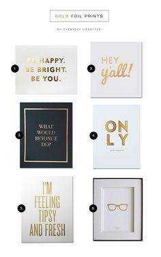 Gold foil makes these typography prints shine! (scheduled via http://www.tailwindapp.com?utm_source=pinterest&utm_medium=twpin&utm_content=post187515943&utm_campaign=scheduler_attribution)
