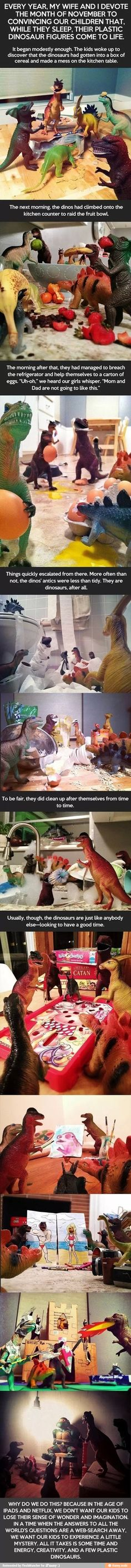 Parents spend a month setting up their kids you dinosaurs to look like they came alive at night. Such a great idea, I'm totally doing this :)