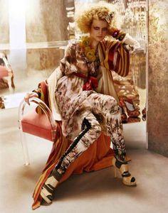 Vogue UK April 2011 'L'Air Du Temps' by Javier Vallhonrat Styled by Lucinda Chambers model Guinevere Van Seenus Fashion Prints, Fashion Art, Boho Fashion, High Fashion, Fashion Beauty, Fashion Design, Rustic Fashion, Vogue Uk, Fashion Shoot