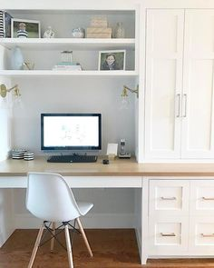 best interior decor in town. Guest Room Office, Home Office Space, Home Office Design, Home Office Decor, Office Setup, Home Decor, Office Organization, Tiny House Office, Office Desks For Home
