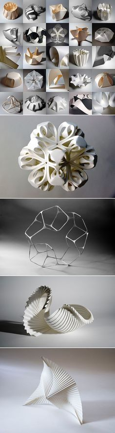 """""""The limitations of paper as a form offer a challenge, which through playful investigation results in tangible models...Hands on manipulation provides the best insight into the properties of a material, allowing its behaviors to be discovered and exploited for the generation of form."""" -Richard Sweeney"""