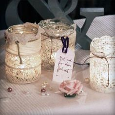 lace lanterns - so easy and romantic at the same time! Wedding Table, Diy Wedding, Rustic Wedding, Romantic Wedding Decor, Perfect Wedding, Decoration Table, Table Centerpieces, Flower Decorations, Wedding Decorations