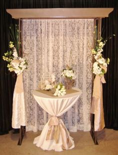 larger than this with white linens, square tan paper piece in center with cigar box centerpiece / Wedding Backdrops Wedding Set Up, Rustic Wedding, Wedding Stage, Wedding Ideas, Wedding 2015, Wedding Inspiration, Backdrop Decorations, Wedding Decorations, Wedding Backdrops