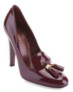 GUCCI 'Mischa' Tassel Leather Pump // like the wine color