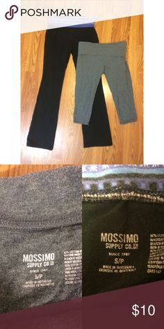 Yoga Pants Bundle 2 pairs of yoga pants from Mossimo, both size small. Black yogas are full length bootcut, and the gray yogas are cropped. Pretty worn but in good condition. Will ship same day as purchased! From a smoke free home. No trades please. Mossimo Supply Co. Pants Leggings