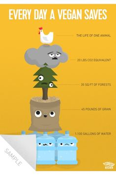 Help spread knowledge and educate your friends why to go vegan with this art print showing the effect of one day of a vegan diet on the environment and animals! Manger Healthy, Vegan Facts, Vegan Meme, Vegan Nutrition, Nutrition Tracker, Vegetarian Protein, Nutrition Shakes, Vegan Quotes, Why Vegan