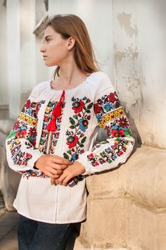 Vyshyvanka Mexico Peasant Blouse Ukraine Bohemian Embroidered Women White Shirt Gift for Her