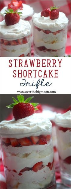 Strawberry Shortcake Cream Cheese Trifle - such a light and yummy tasting dessert! From http://www.overthebigmoon.com!