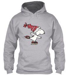 Snoopy Skating Sport Grey Sweatshirt Front