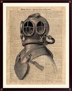 Diving Helmet Print Diver Poster Deep Sea Diver Helmet by DicosArt
