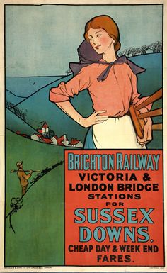 Brighton railway South Downs poster