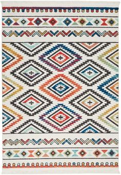 Navajo White Area Rug - Nourison Feature: Native American textile designs bring tribal rug decor home with the exciting Navajo Collection of area rugs. The bright transitional hues in these colorful rugs imbue their vivid geometric designs with Tribal Decor, Tribal Rug, Geometric Rug, Geometric Designs, Tribal Designs, Geometric Patterns, Textile Patterns, Southwestern Area Rugs, Nourison Rugs