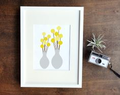 Billy Button Art Print Yellow and Gray Wall by RetroMenagerie, $16.00