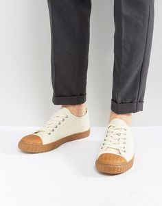 ASOS Lace Up Sneakers In Off White Canvas With Gum Sole - White