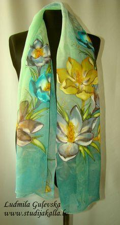 Natural silk shawl floral blue pale green crocus by Studijakalla