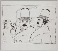 Mario Tozzi 1912: Due Industriali. Disegno matita e inchiostro - cm.(11x17) - Collezione eredi Brunetti-Laderchi Bologna - Arc.412.
