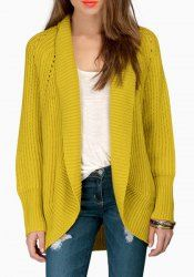 Stylish Collarless Long Sleeve Solid Color Hollow Out Cardigan For Women