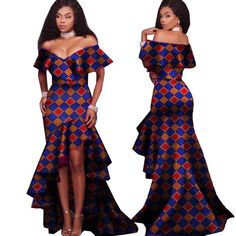 African Tribal National Printing Slash Neck Sexy Long Dresses For Women Bazin African Tribal National Printing Slash Neck Sexy Long Dresses For Women Bazin African Fashion Ankara, African Fashion Designers, African Print Fashion, Africa Fashion, African Style, African Prints, African Fabric, Long African Dresses, Long Dresses