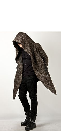 Outerwear - Avant-garde Unbeatable Style Diabolic Hood Cape Coat Vol.2 (Charcoal/Beige) - 32 for only 75.00 !!!