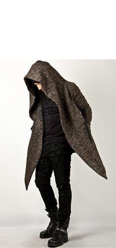 Outerwear - Avant-garde Unbeatable Style Diabolic Hood Cape Coat Vol.2 (Charcoal/Beige) - 32 for only 75.00 !!!