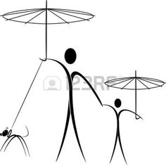 umbrella silhouette: man and son at the walk with the umbrellas and with the dog