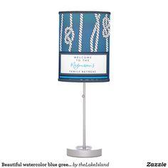 Beautiful watercolor blue green white knots custom tripod lamp